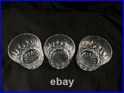 Waterford Crystal Lismore Glass Old Fashion Rocks 9 oz 3 3/8 SET OF 3