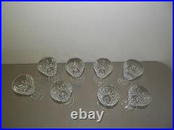 Waterford Crystal Lismore Wine Clarets Glasses Set Of Eight (8) Euc