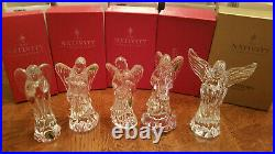Waterford Crystal Nativity Angels Set of 5 Praying Lute Harp Horn Wisdom