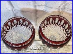 Waterford Crystal Ruby Red Cut To Clear Clarendon Wine Hocks Goblets Set Of 2