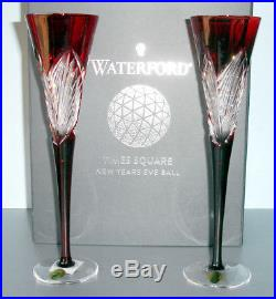 Waterford Crystal Ruby Red Times Square Flutes SET/2 Imagination 163688 $400 New