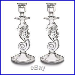 Waterford Crystal Seahorse Candlesticks Pair Set of Two 11.5 #158572 Brand New