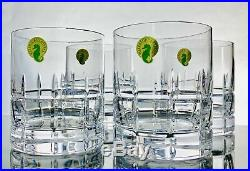 Waterford Crystal Set 4 Double Old Fashioned Glasses Cocktail Whiskey Tumbler