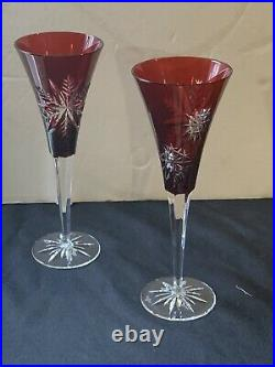 Waterford Crystal Set Of Two (2) Ruby Red Snowflake Wishes Wine Glasses