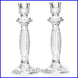 Waterford Crystal Tara Set of Two 10 Diamond & Wedge Cut Candlesticks NEW