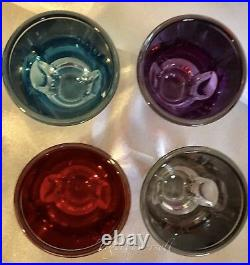 Waterford ECLIPSE CRYSTAL SHOT GLASSES Multi-Colored Set of 4 withBox 2005 Ireland