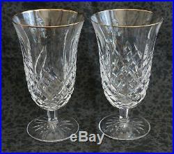 Waterford GOLDEN ARAGLIN Stemmed Iced Tea Glasses Gilt Rim Set of 2 + more
