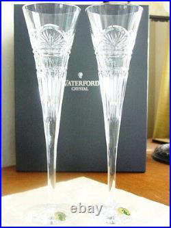 Waterford JIM O'LEARY LISMORE CELEBRATION Champagne Toasting Flutes Set/8 NEW