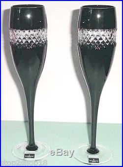 Waterford John Rocha Champagne Flute(s) SET/2 Black Cut Cased Crystal 135499 New