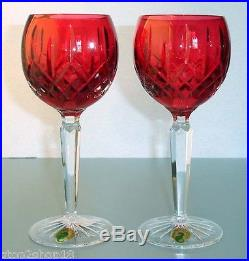 Waterford LISMORE Crimson Hock Wine SET/2 Glasses Red & Clear Crystal 146269 New