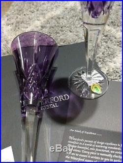 Waterford LISMORE JEWELS Amethyst Toasting Champagne Flutes Set of 2 #154064 NEW