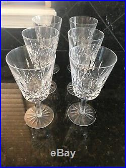 Waterford Lismore Crystal Water Goblet Glasses, 6.75 Tall Set of Six (6)