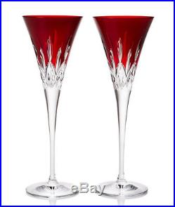 Waterford Lismore Pops Toasting Flutes Set of 2 Red 40026611 New