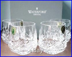 Waterford Lismore Roly Poly Set/4 Old Fashioned Tumbler DOF Glasses New In Box