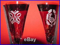 Waterford Ruby Red 12 Days Of Christmas Set Crystal Champagne Flutes Gift Chest