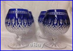 Waterford Set Of 4 Cobalt Blue Cut To Clear Crystal Clarendon Brandy Glasses