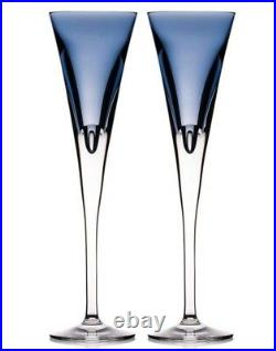 Waterford W Collection Champagne Flutes SET/2 Sky Blue Crystal 11H 40030960 New