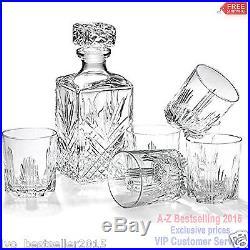Whiskey Decanter Set 6 Glasses Glass Bottle Wine Stopper Crystal Like Liquor NEW