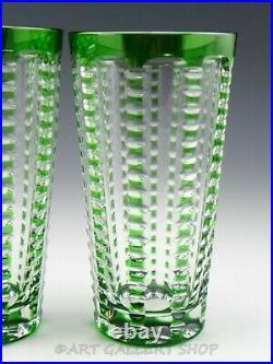 William Yeoward Crystal LULU EMERALD GREEN 6-1/8 HIGHBALL TUMBLERS Set 3 Unused
